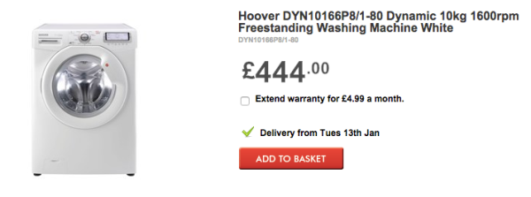 BHS Direct prive for Hoover washing machine